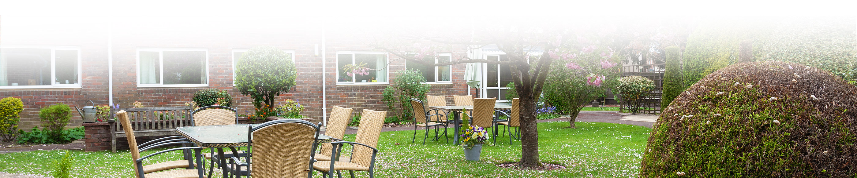 Outdoor table and chairs at Chestnut View Care Home Haslemere