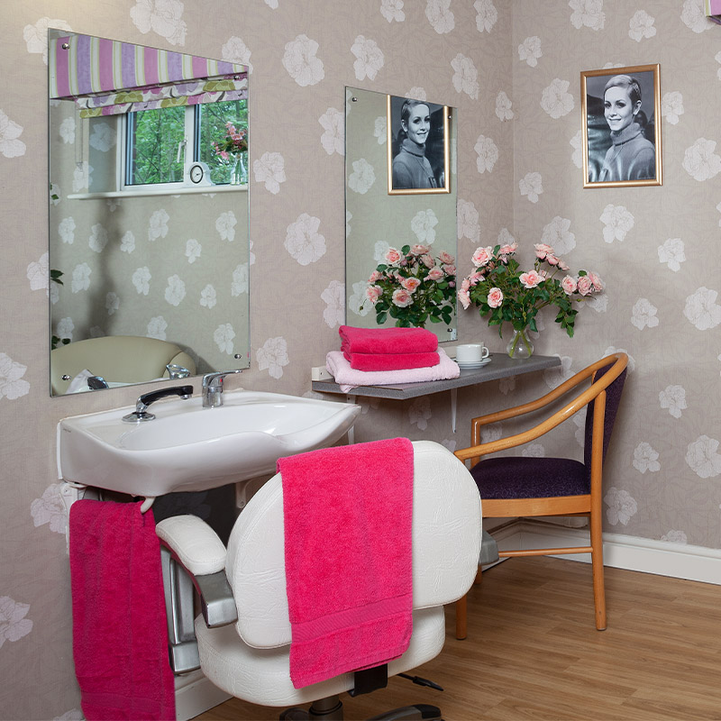 Bathroom basin and sink at chestnut view care home haselmere